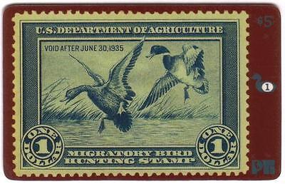 Duck Hunting Permit Stamp Card #1 'Void After 1935' Mallards USED Phone Card