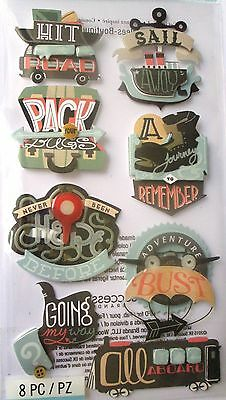 JOLEE'S BOUTIQUE TRAVEL WORDS Journey Scrapbook Craft Stickers Embellishment