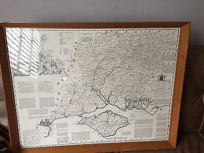 vintage map Of Hampshire in Original 60's wooden box frame