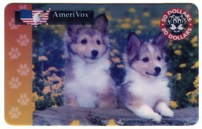 $20. Two Collie Dog Puppies In Yellow Flower Garden USED Phone Card