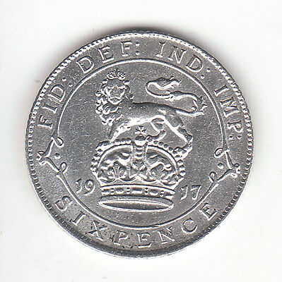 1917 Great Britain George V Silver Sixpence. Popular as Lucky Wedding coin. VF.