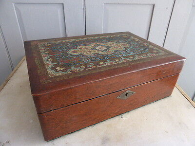 Antique wooden writing box slope with painted lid