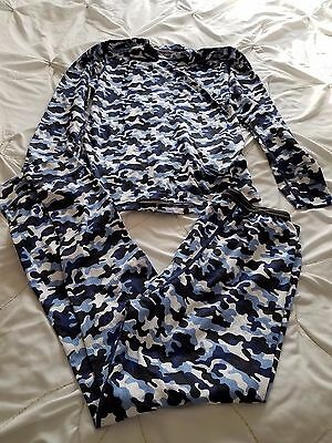 HANES Boy's XL 18/20 Blue Camo 100% Polyester Thermal Under Clothes Top Pants