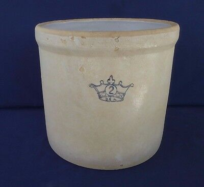 Antique Blue Crown U.S.A. Pottery Crock #2 Ceramic Americana Farm Country