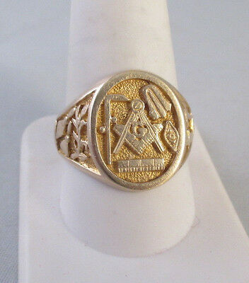 14K YELLOW GOLD MASONIC SYMBOL SIGNET RING Sz 10