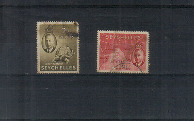Seychelles George VI 1952 2r25 and 5r used
