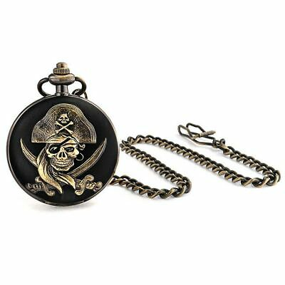 Bling Jewelry Antique Style Pirate Skull & Bones Black Gold Plated Pocket Watch