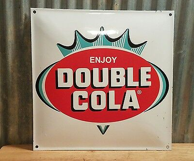 DOUBLE COLA Porcelain Sign Soda Fountain Store Display Vintage Advertising ENJOY