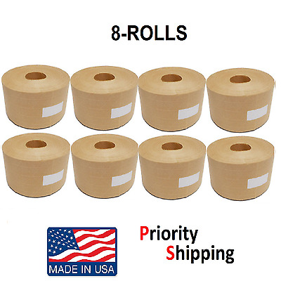 "8 Rolls Central 3"" x 500' Reinforced Gummed Kraft Paper Tape - Water Activated"