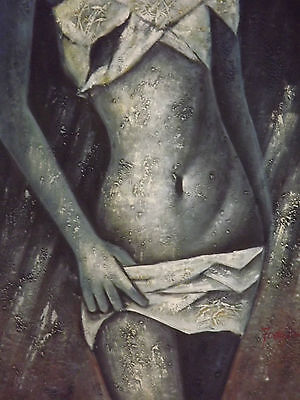 female black white semi nude oil painting canvas abstract  contemporary original