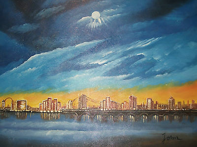 london skyline large oil painting canvas blue modern contemporary original art