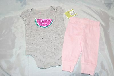 New Circo Gray Infant Baby Girls 2 pc Watermelon Bodysuit Outfit Size 0-3 Months