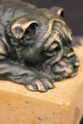 Handcrafted bronze sculpture Bulldog English Hot Cast Original Signed Home Decor