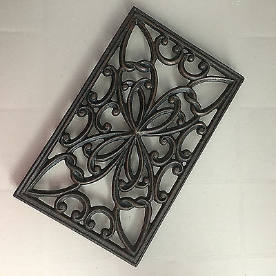 Rectangle Cast Iron Footed Trivet Kitchen Table Top Metal Pot Stand Black Copper