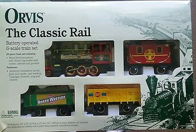 New Orvis 'The Classic Rail' G SCALE Train Set 20 Piece Locomotive Track Battery