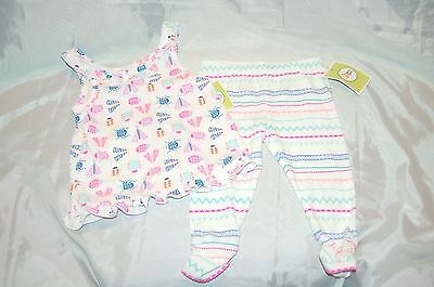 New Circo Pink White Fun Insects Infant Baby Girls 2 pc Outfit Size 18 Months