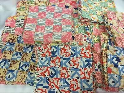 "VINTAGE 6"" Quilt Blocks Hand Pieced 25 Tiny Squares Feedsack Country Crafts"