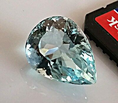 12.48 Carats Natural Genuine Aquamarine Loose Stone Pear Shape 18X13mm gemstone
