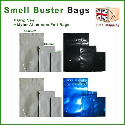 Smell Buster Bags Mylar & Aluminum Colour Odour Proof Grip Lock Seal Baggy Stash
