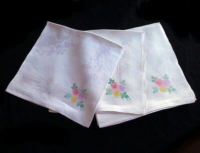 "SET: 10 Antique White Rose Damask Irish Linen Napkins 22"" LOVELY TINTED CORNERS"