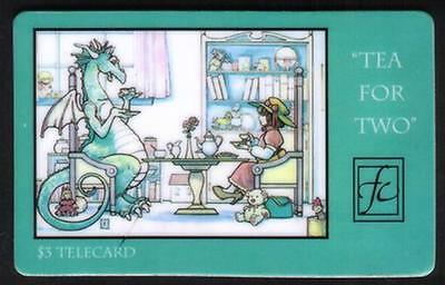 $3. 'Tea For Two': Child & Dragon's Having Tea At The Table SPECIMEN Phone Card