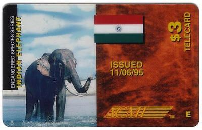 $3. Indian Elephant Endangered Species & India Flag PROOF Phone Card
