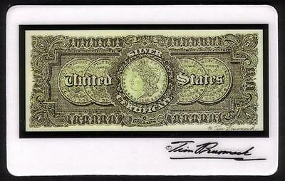 5m Tim Prusmack Design of Back of 1886 USA $5. Currency: Sil. Dollars Phone Card