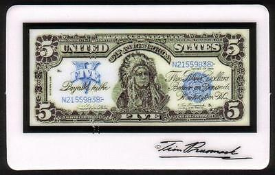 5m Tim Prusmack Design of 1899 USA $5. Currency: Indian Chief Phone Card