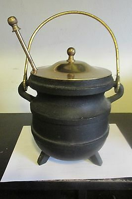 Vintage Smudge Pot Cauldron Kettle w Brass Lid & Fire Starter Pumice Wand
