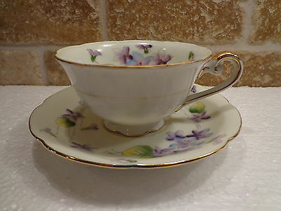 """Vintage marked """"M"""" China Tea Cup & Saucer Gold Purple Flowers Yellow Green Japan"""