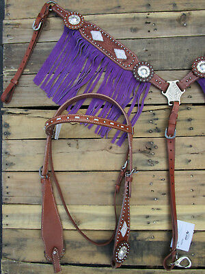 Headstall Breastcollar Set Show Buckstitch Purple Fringe Horse Western Leather