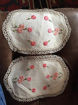 Vintage Hand Embroidered-Stitched Dressing Table Doilies