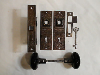 Complete Restored Victorian Eastlake Style Interior Door Mortise Lockset & key