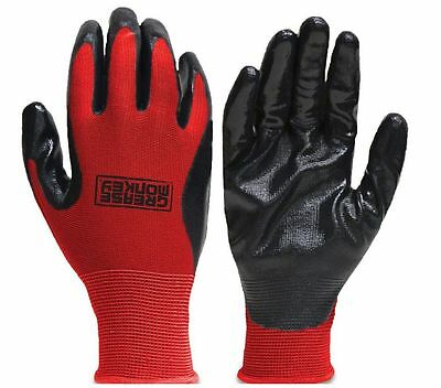 100 Pairs Of New Grease Monkey Nitrile Coated Work Gloves Size L Large Red Black