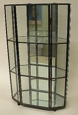 Vintage Brass Glass & Mirror Curio Display Wall Cabinet 3 Tier Shelves Octagon