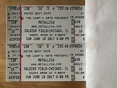 2 Metallica Tickets for Soldier Field Chicago 6/18/17 section 130