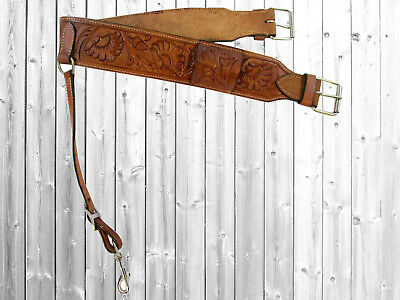 Floral Tooled Brown Leather Back Rear Cinch Flank Billet Western Horse Girth