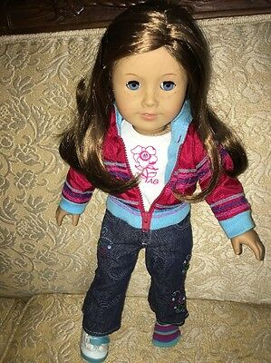 My American Girl Doll Light Brown Hair Blue Eyes Ready For Fun Outfit