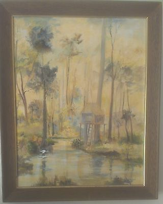 Stunning Old River Landscape Oil Painting Fine Artist Signed W/Frame Beautiful