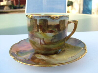 Exquisite Royal Doulton J Hughes hand painted castles miniature cup and saucer