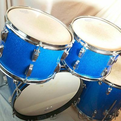 "Ludwig 20,13,13,16""Blue Sparkle Drum Set 3ply Birdseye Maple Vintage 70s Classic"