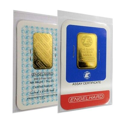 1 oz Engelhard Gold Vintage Bar .9999 Fine (With/In Assay)