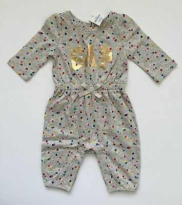 Baby Gap Girls Polka Dot Gold Logo One Piece Romper Size 0-3 Months NWT