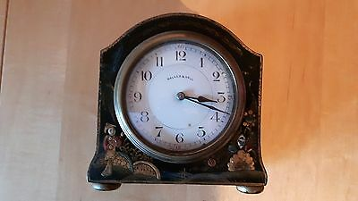 Antique Walker Hall French 8 Day Japanese Painted Figures Black Painted Clock