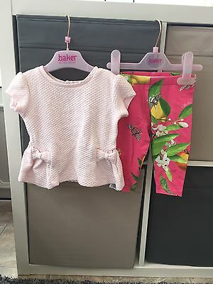 Ted Baker Peplum Top And Floral Bird Leggings Set Baby 3-6 Months