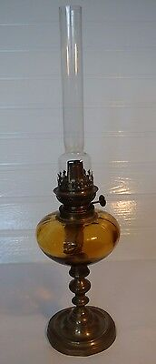 Antique Brass and Amber Glass Oil Lamp 52 cm high