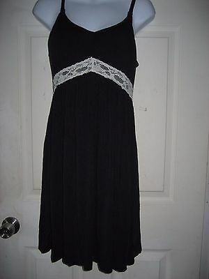 Bump In The Night Maternity Navy Blue / White Lace Trim Night Gown Size Medium