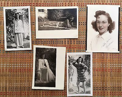 WW II Vintage Photo Lot:  Young Co-ed, Daily Life