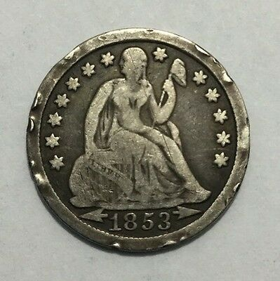 1853 10C Arrows Liberty Seated Dime-VG/Details