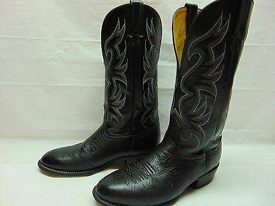 Mens 8 EE Nocona Black Bullhide Leather Pull On Motorcycle Western Cowboy Boots